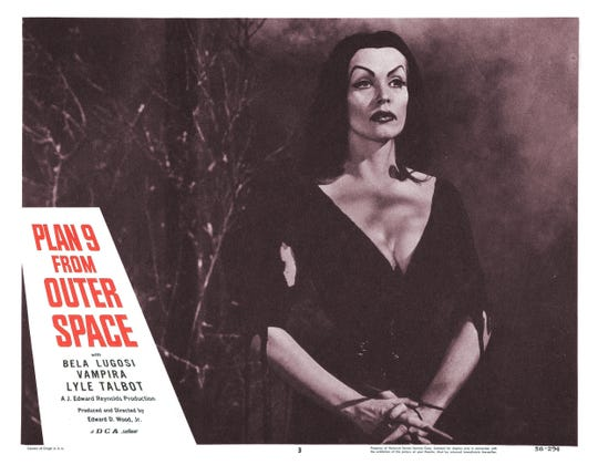 """Before Elvira there was Vampira, star of Ed Wood's infamous """"Plan 9 from Outer Space,"""" which screens during Saturday night's Summer Quartet Drive-In program of irresistibly bad cinema."""