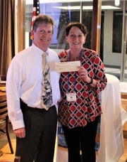 Pat Rutledge with Bill Morris at a recent Noontime Rotary luncheon.