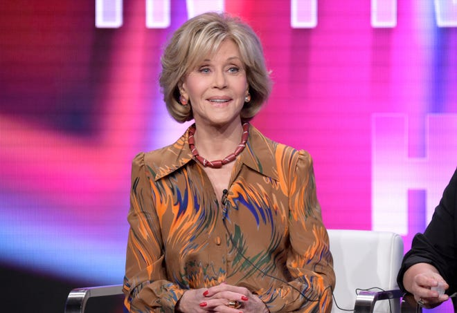 "Jane Fonda speaks during the ""Jane Fonda in Five Acts"" panel during the HBO Television Critics Association Summer Press Tour in Beverly Hills, Calif., on July 25. Fonda will make an appearance at the Riverside Theater on Nov. 3."