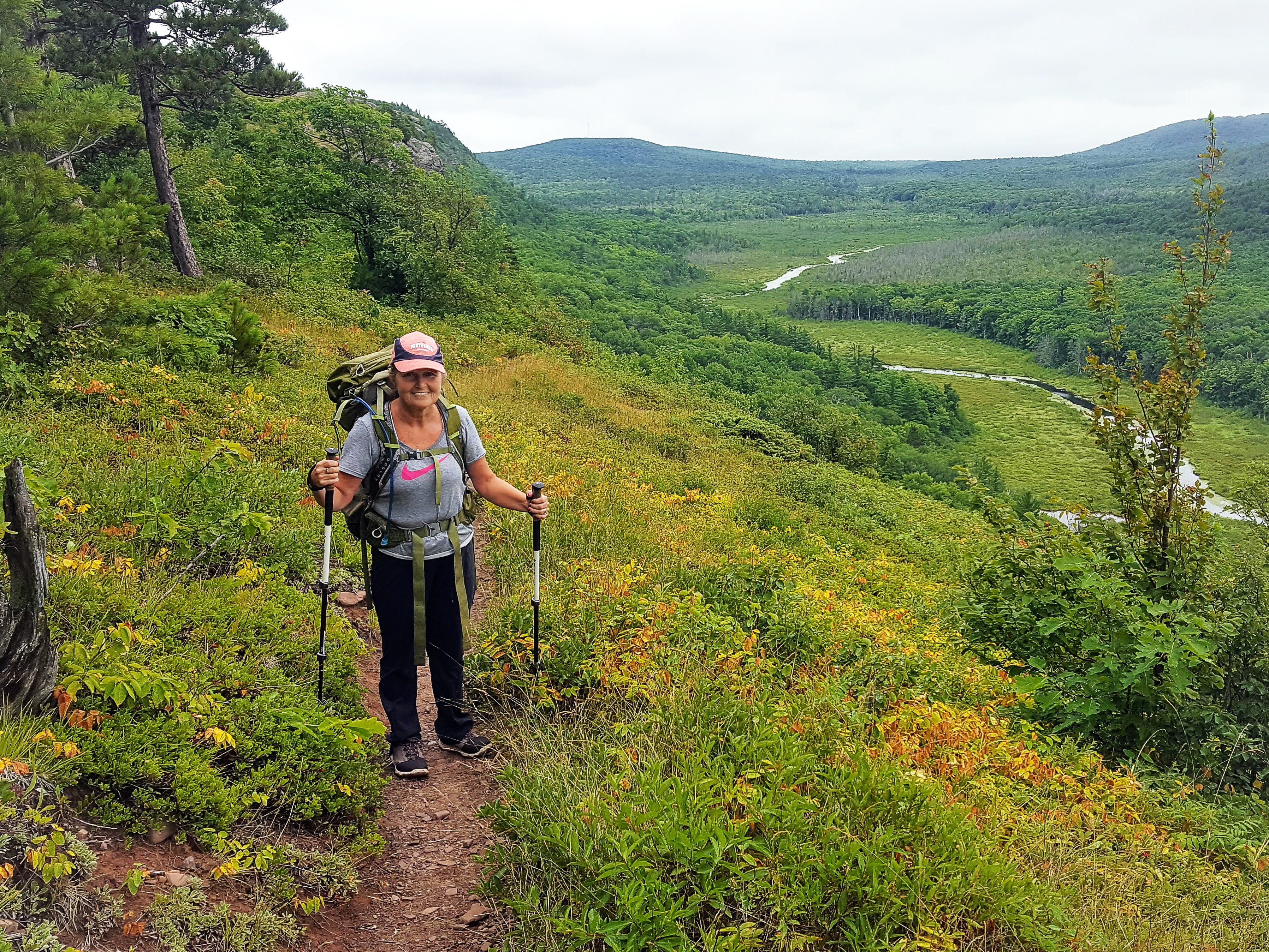 Carol Lewis hikes along the Escarpment Trail in the Porcupine Mountains Wilderness State Park in Michigan's Upper Peninsula.