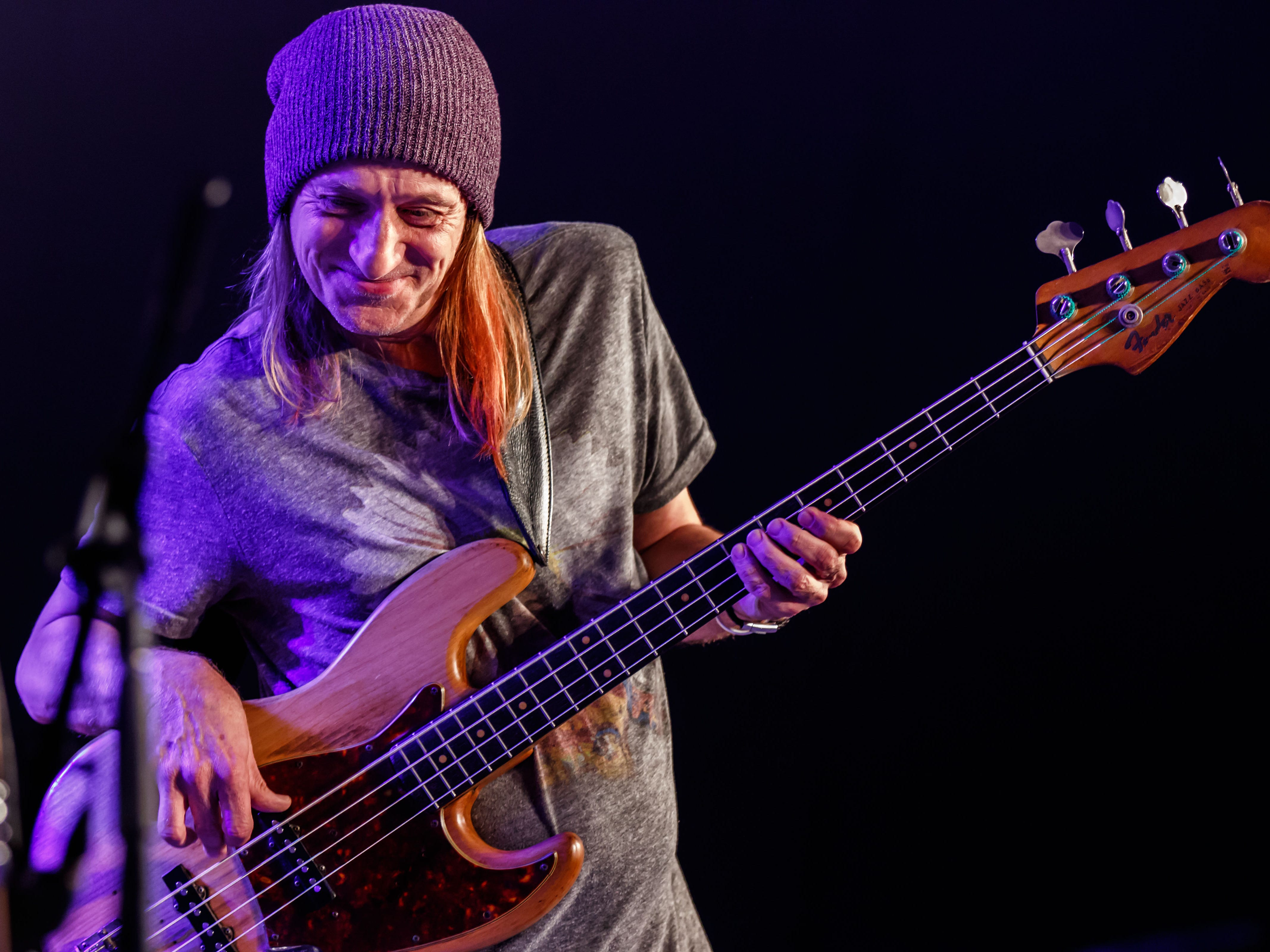 Bassist Greg Rzab performs with Carolyn Wonderland at the 12th annual Waukesha Rotary BluesFest in Naga-waukee Park on Friday, August 10, 2018. The annual two-day music and art festival features live music, food and beverages, artist displays and more.