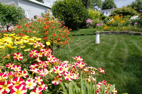 Vilas Kraut's backyard provides ample areas for showing off a variety of flowers and the homeowner's manicured lawn.