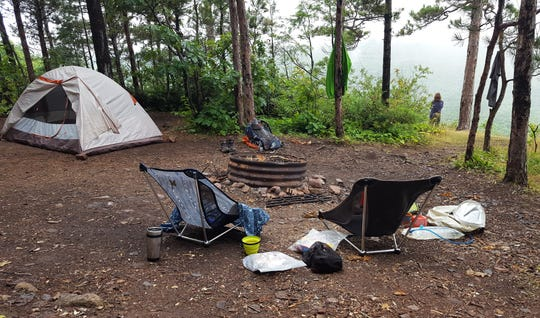 Backcountry campsites in the Porcupine Mountains Wilderness State Park must be reserved. This site, ES1, is on the Escarpment Trail overlooking the Upper Carp River and Lake of the Clouds.