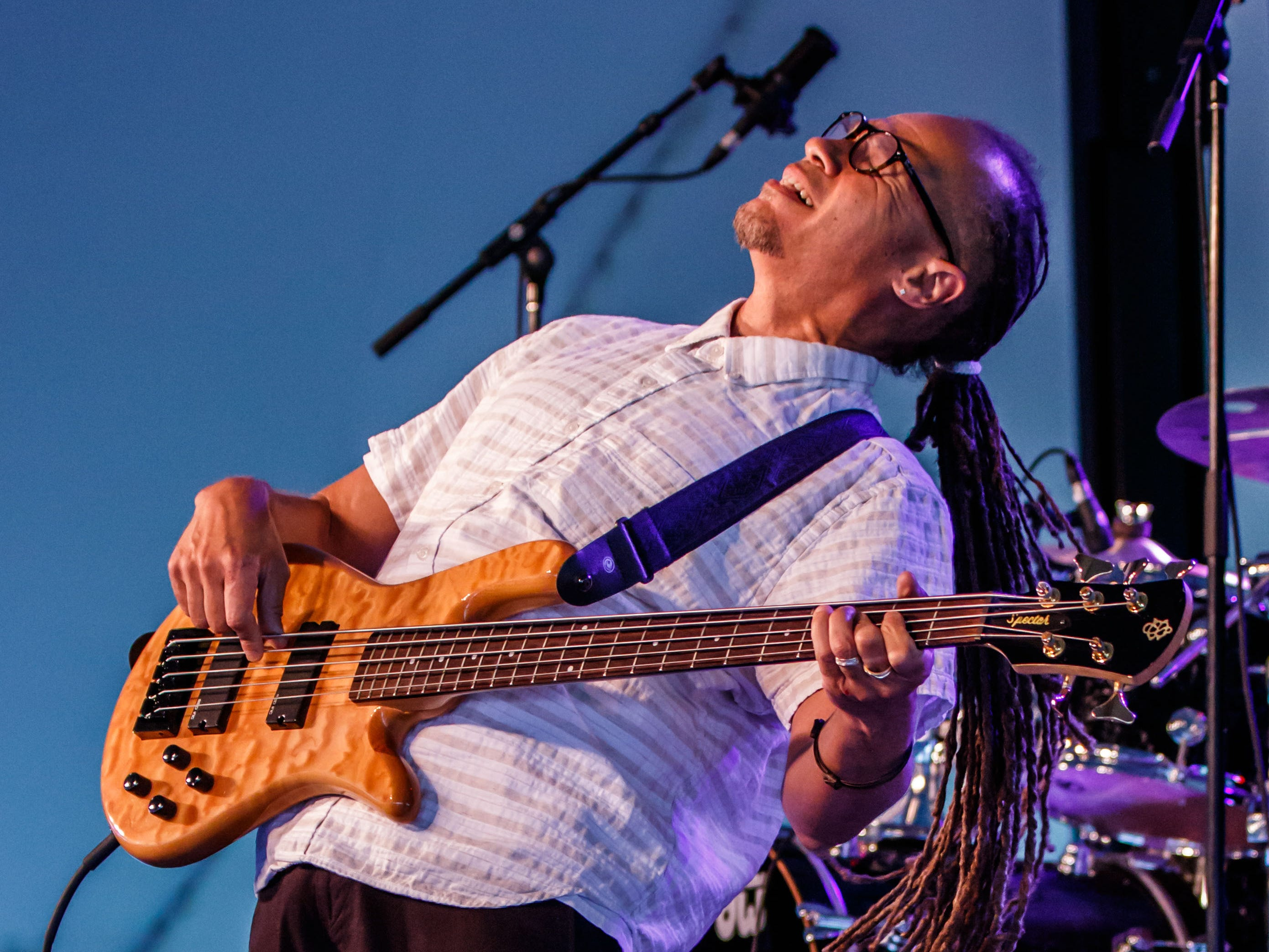 Bassist Lenny Bradford performs with the Joe Louis Walker band at the 12th annual Waukesha Rotary BluesFest in Naga-waukee Park on Friday, August 10, 2018. The annual two-day music and art festival features live music, food and beverages, artist displays and more.