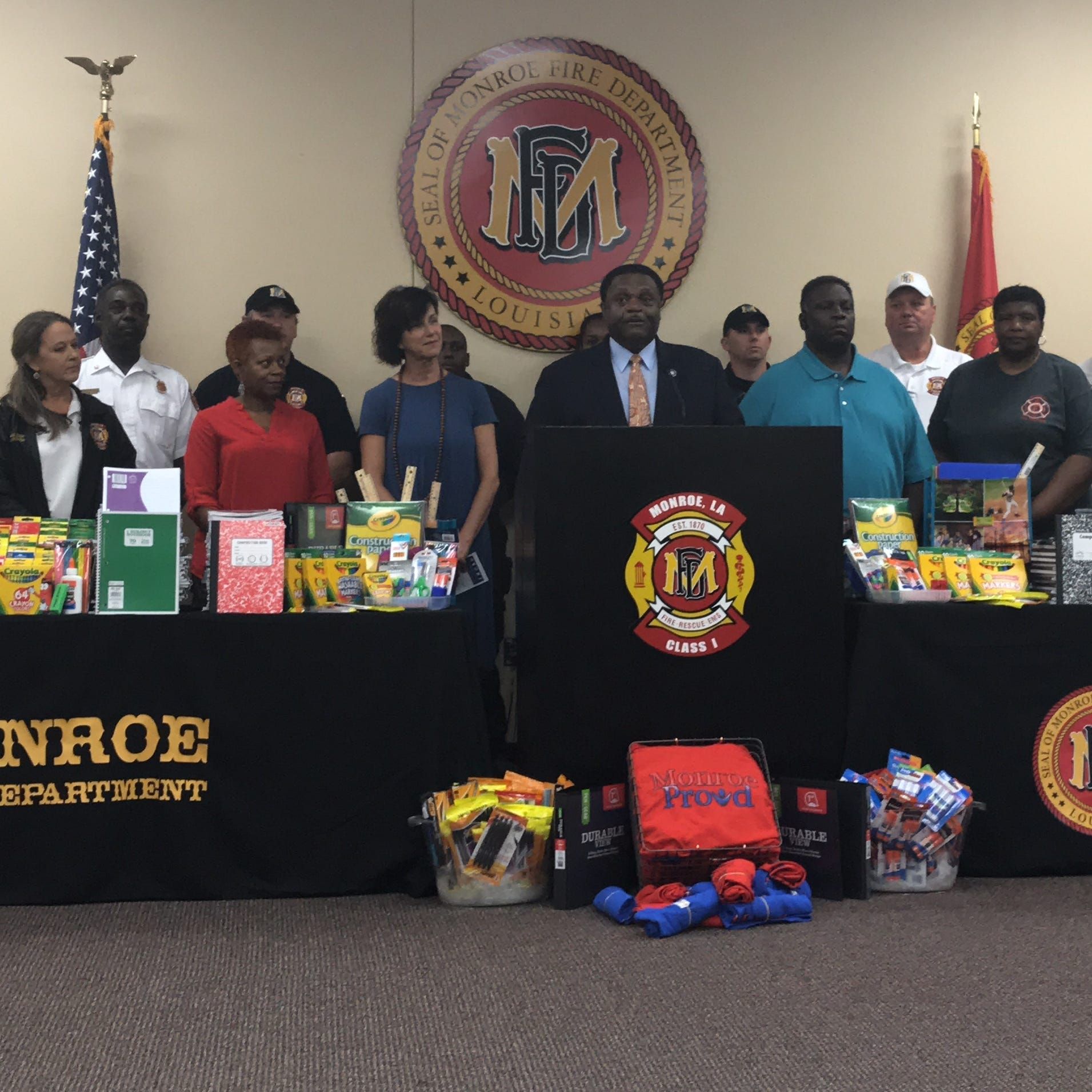 Members of the Monroe Fire Department organized a school supply drive featuring contributions from employees across the city.