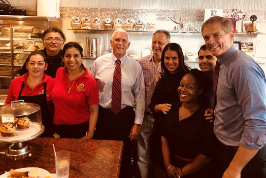Vice President Mike Pence, fourth from left, was at the Florham Park Diner Friday during a fundraising visit to Morris County for congressional candidate Assemblyman Jay Webber, right. August 10, 2018