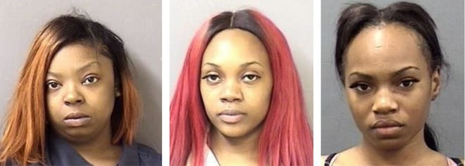 Evana Thompson, from left, Alexandria Blue and Angel Moses