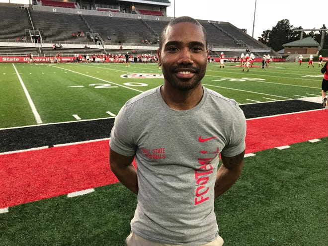 Former Ball State star Dante Love attended Ball State's scrimmage at Scheumann Stadium on Aug. 9, 2018.
