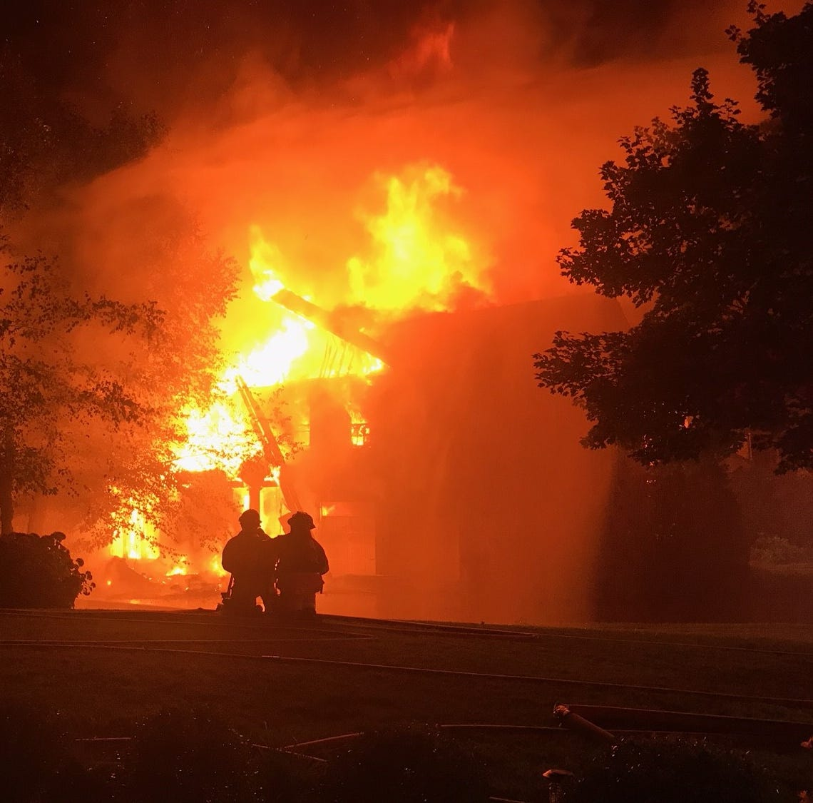 Brentwood home declared 'total loss' after fire, crews still battling spot fires