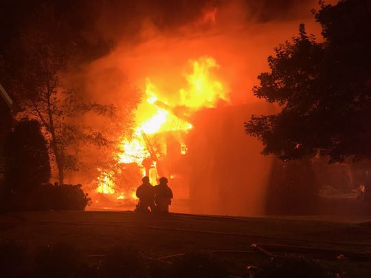 Brentwood firefighters spent hours putting out a structure fire that engulfed a home in the Governor's Club subdivision on Sunday morning.