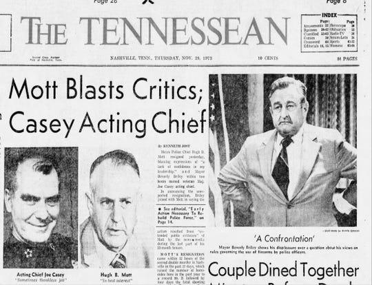 Front page from The Tennessean, Nov. 29, 1973.