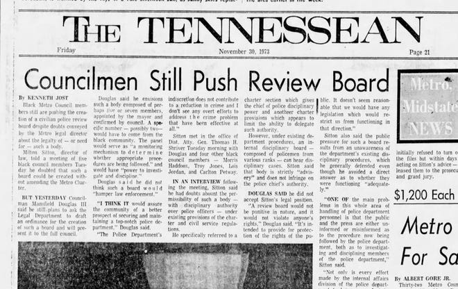 """Headline from the Nov. 30, 1973, edition of The Tennessean: """"Councilmen still push review board."""""""