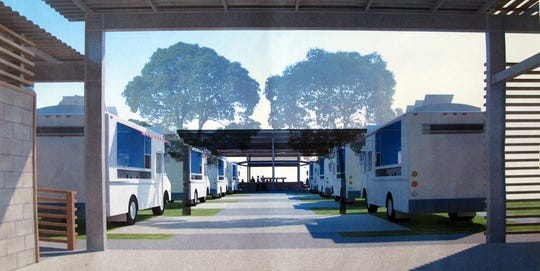 A rendering of the entrance to the Celebration Park food truck venue under construction at Becca Avenue and Bayshore Drive in East Naples.