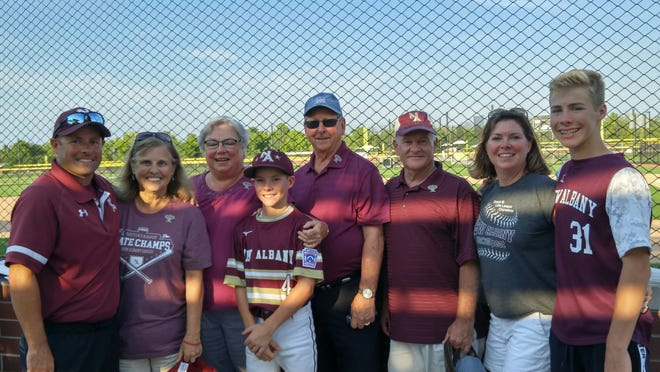 Newark graduate Greg Ecleberry, far left, coached the New Albany Little League All-Stars in the Great Lakes Regional this past week. Ecleberry's wife Amy also is a Newark graduate, and their son Brandon was the team's second baseman.