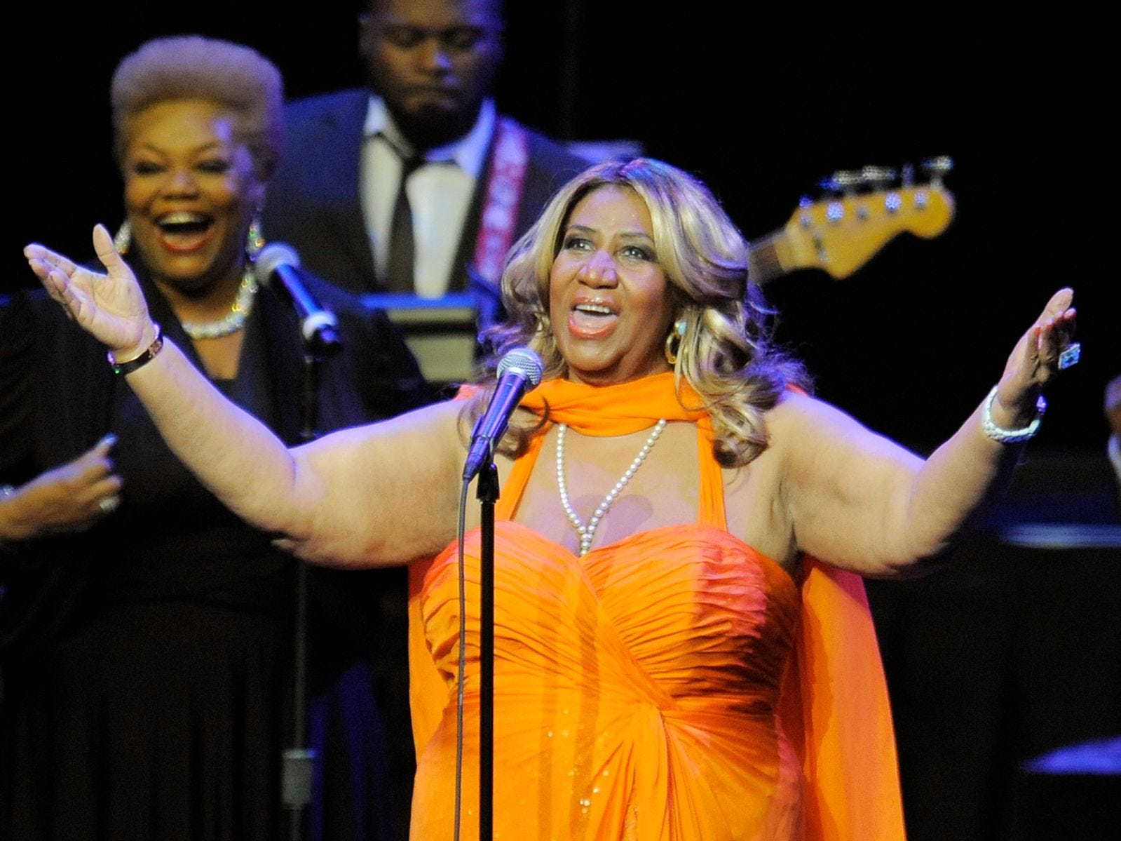This July 25, 2012 file photo shows Aretha Franklin performing at the NOKIA Theatre L.A. LIVE in Los Angeles. Franklin sang for Mrs. Obama and about 3,000 fans at DAR Constitution Hall on Saturday, Nov. 17. Afterward, Franklin said it was great to see her VIP guests relax and shake their hips a little, especially after a tough reelection campaign.