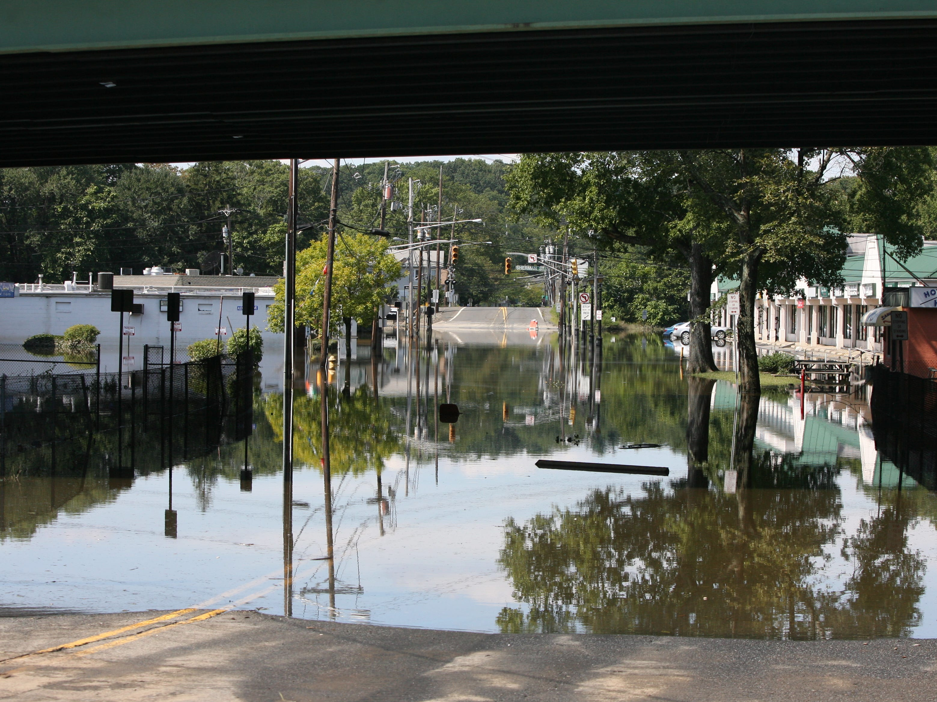 Aug. 31, 2011: The view of Lincoln Park from Wayne showing the effects of Hurricane Irene.