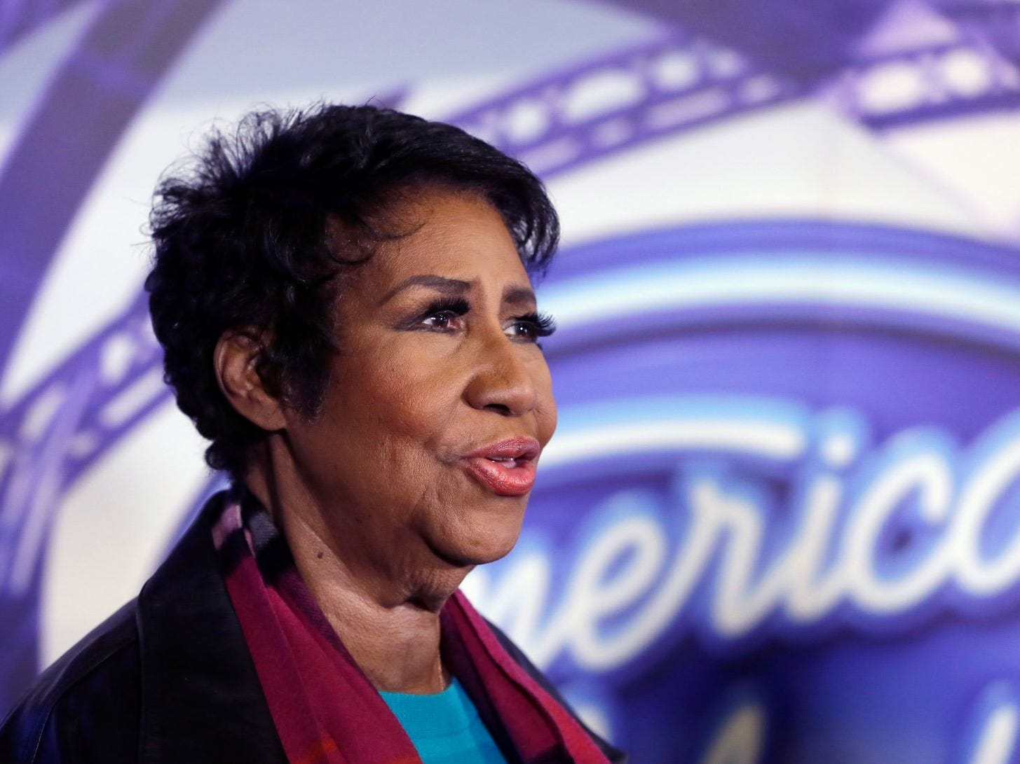 "In a March 4, 2015, file photo, singer Aretha Franklin is interviewed after a taping for American Idol XIV at The Fillmore Detroit. A federal judge in Denver on Friday, Sept. 4, 2015, blocked the scheduled screening at the Telluride Film Festival of the film ""Amazing Grace,"" which features footage from 1972 of a Franklin concert, after the singer objected to its release."