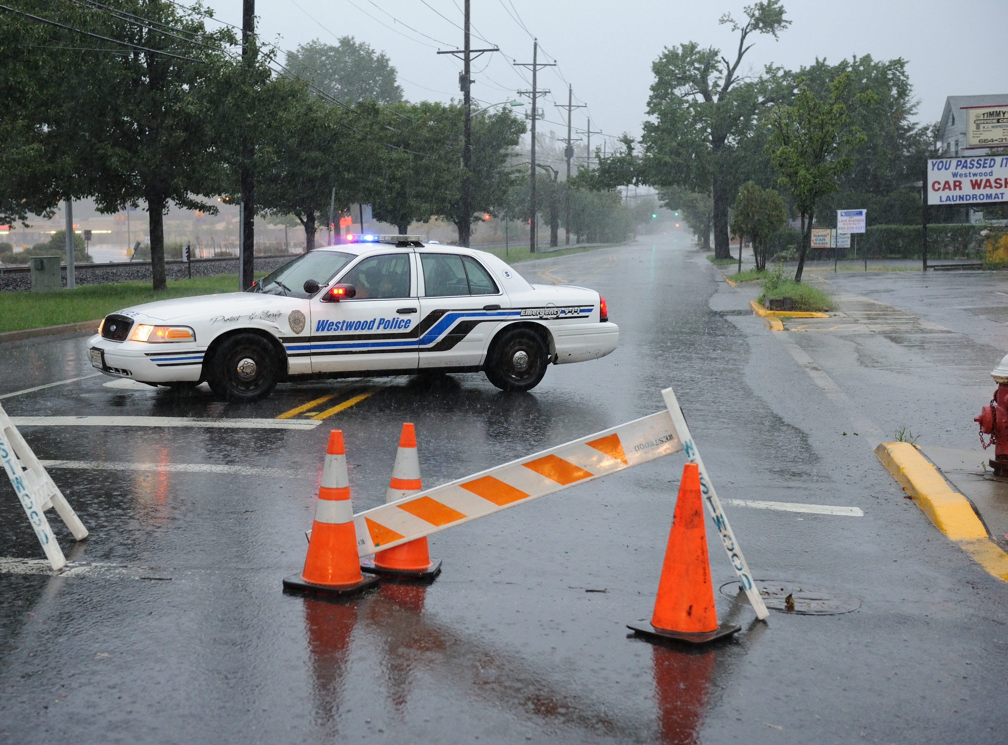 Aug, 28, 2011: Kinderkamack Road in Hillsdale near Kmart was closed to flooding.
