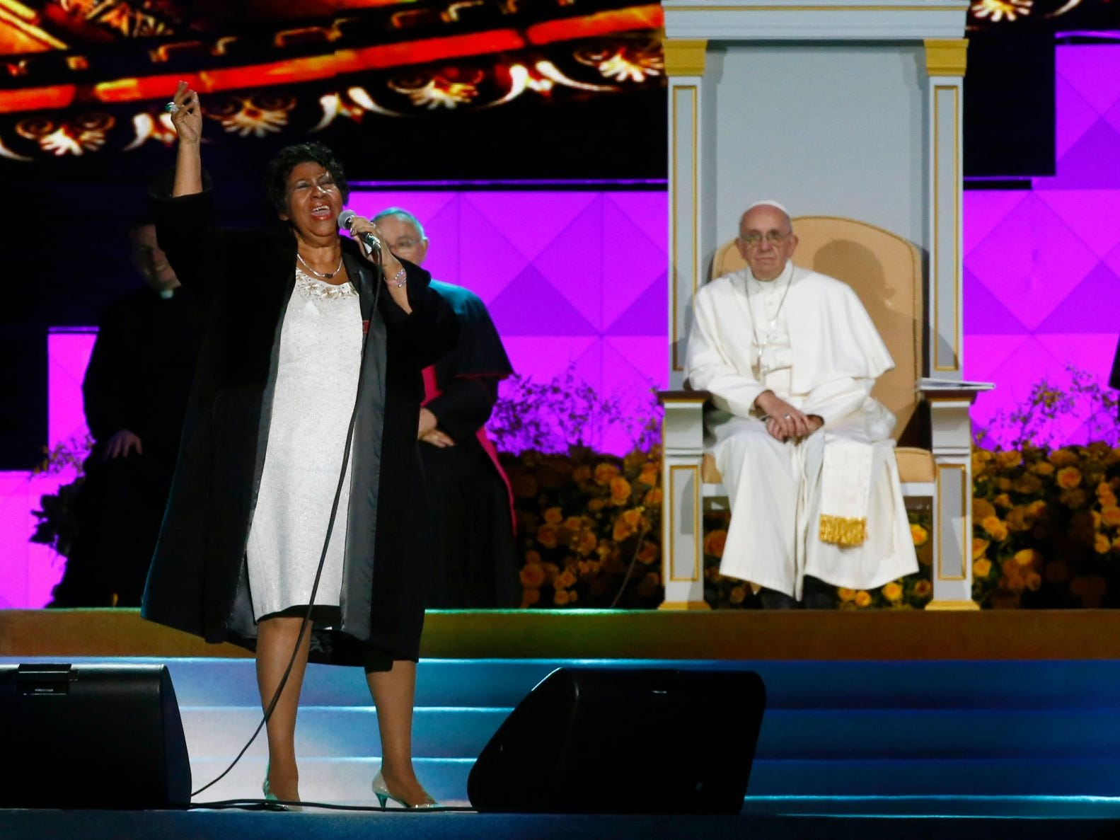 American singer Aretha Franklin sings as Pope Francis and others listen during the World Meeting of Families festival in Philadelphia, Saturday, Sept. 26, 2015.