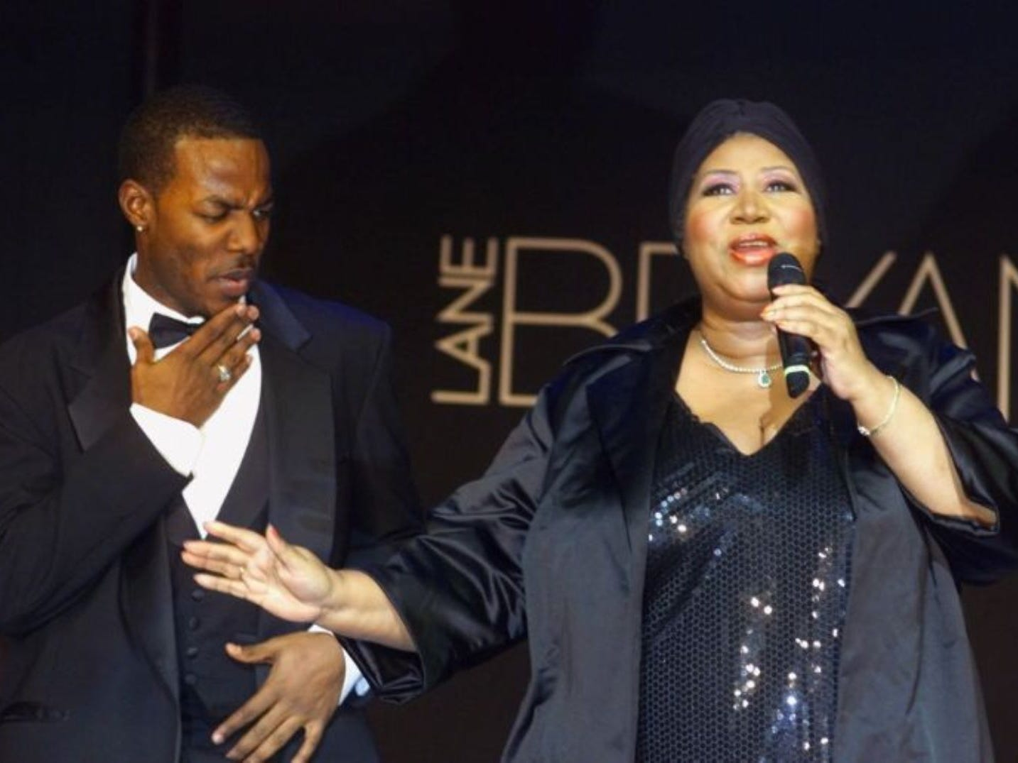 The Queen of Soul Aretha Franklin performs during the Lane Bryant Spring-Summer 2001 Lingerie Show Monday, Feb. 5, 2001, in New York.