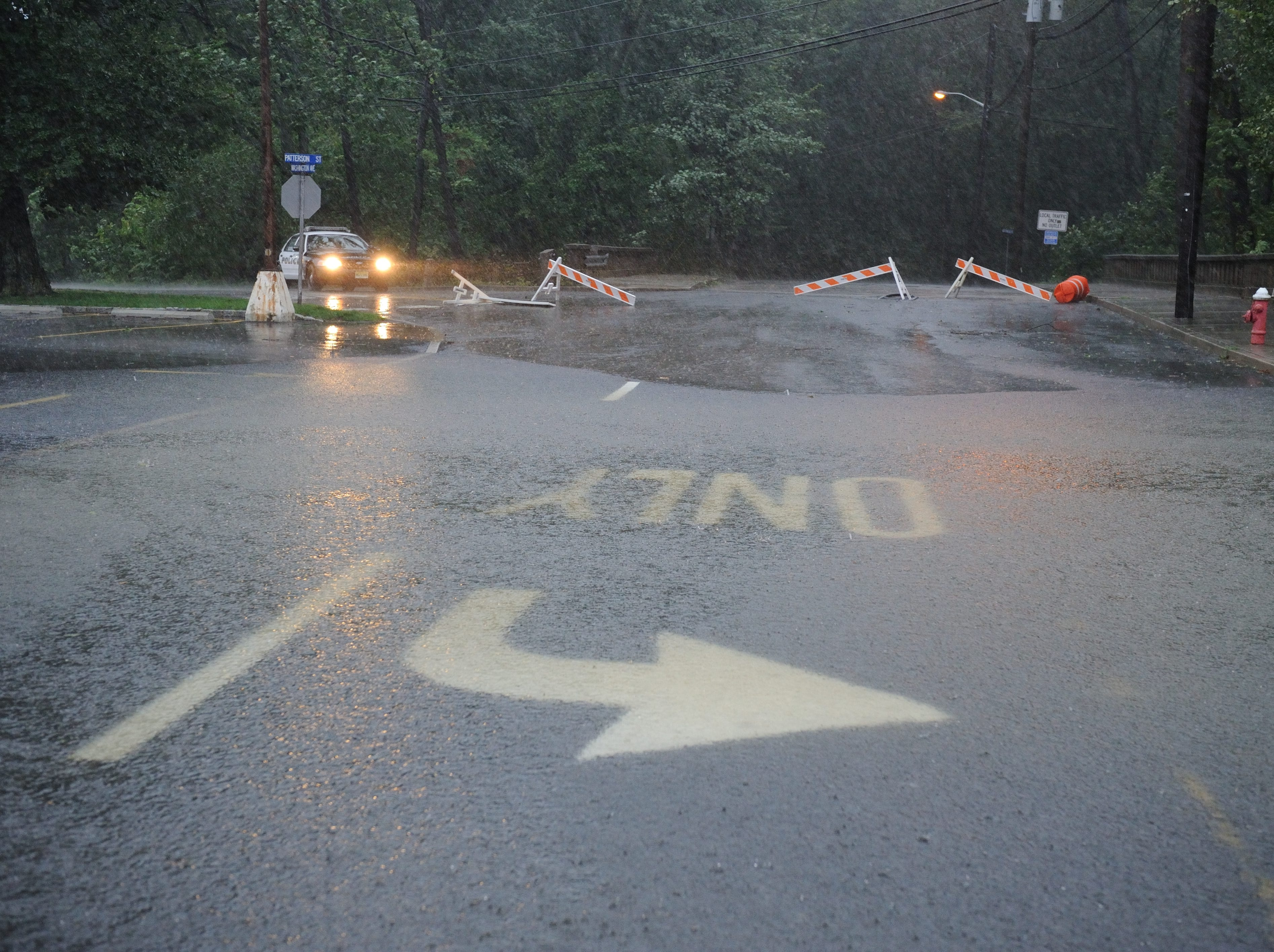 Aug. 28, 2011: Patterson Street in Hillsdale near Friendly's is closed to flooding.