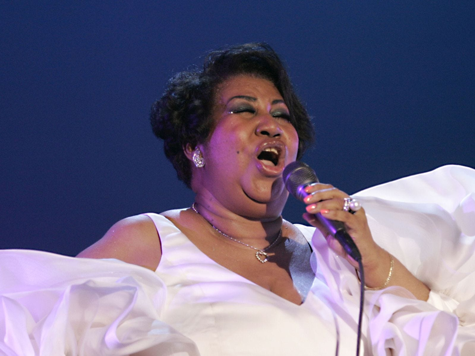 Aretha Franklin is shown in concert at The Greek Theatre on Sept. 17, 2004, in Los Angeles, Calif.