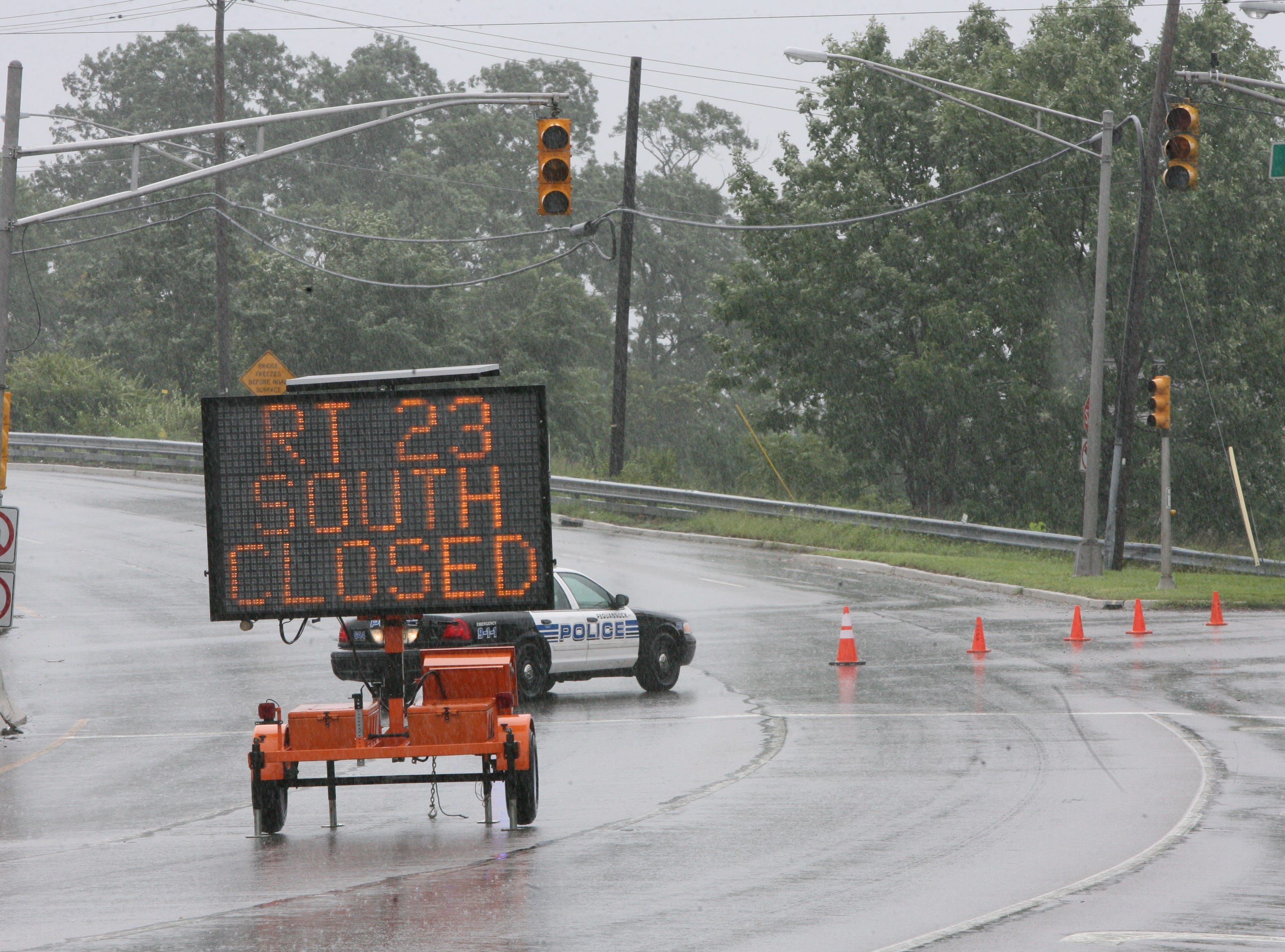 Aug.  28, 2011: Southbound Rt. 23 in Pequannock is closed due to flooding from Hurricane Irene.
