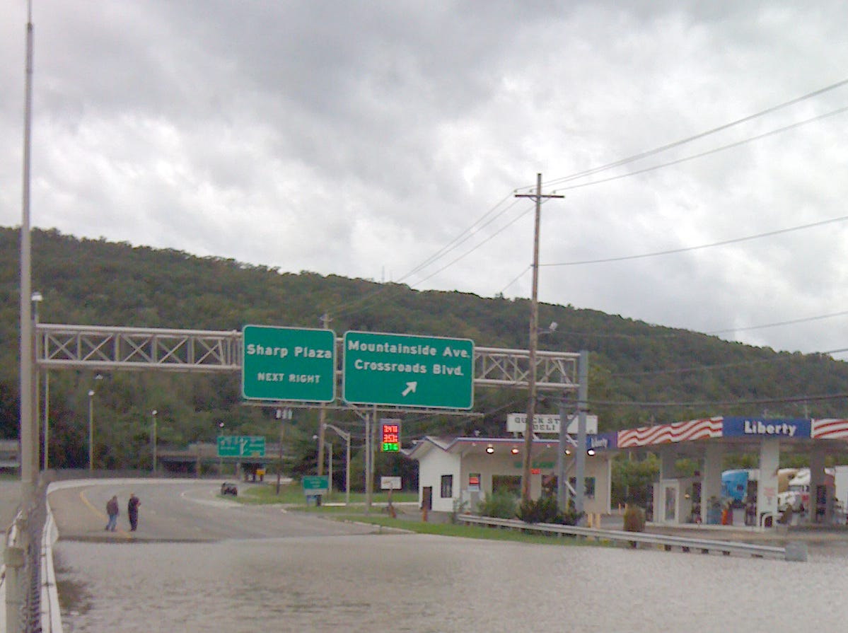 2011: Hurricane Irene flooding along Route 202 and Route 17 in Mahwah.