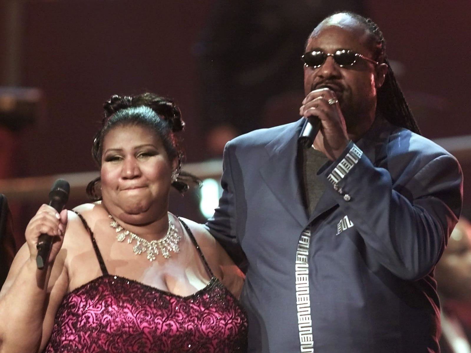 "Aretha Franklin sings with Stevie Wonder at the finale of the ""VH1 Divas 2001: The One and Only Aretha Franklin"" event Tuesday, April 10, 2001, in New York. The special tribute also featured Mary J. Blige, Jill Scott, Cella Cruz, Marc Anthony and Kid Rock."