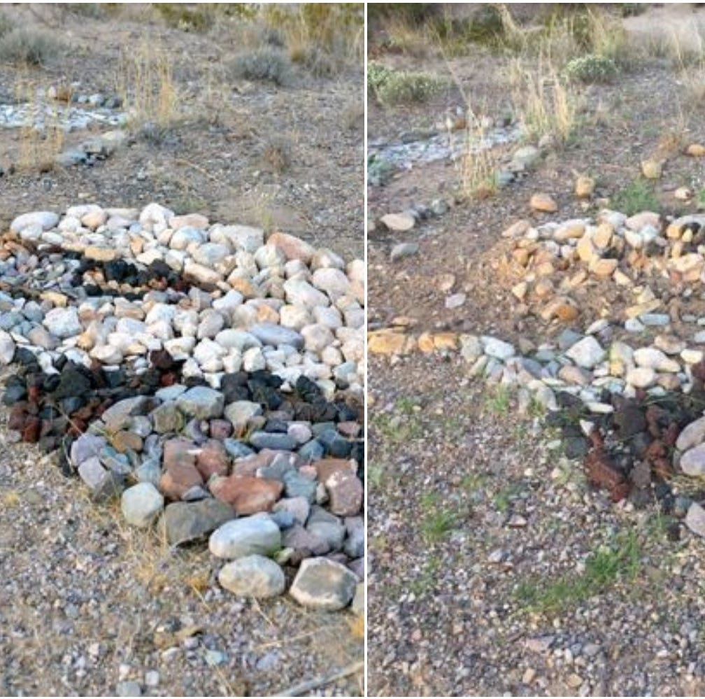 Rock mosaics along Tortugas Dam vandalized