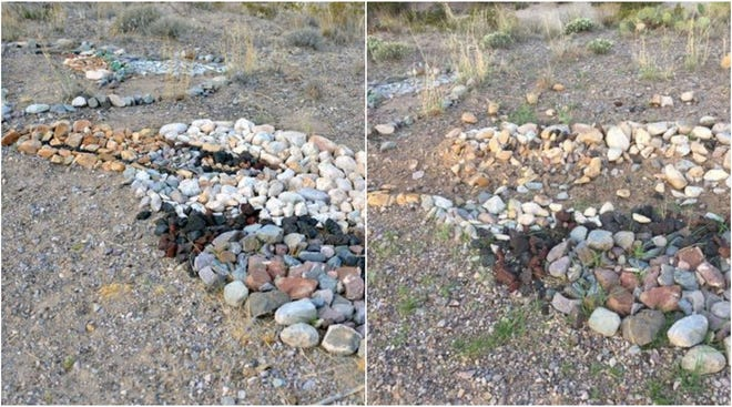 Kathy Morrow's rock mosaic of an eagle on July 2 (left) and after it was damaged weeks later (right).