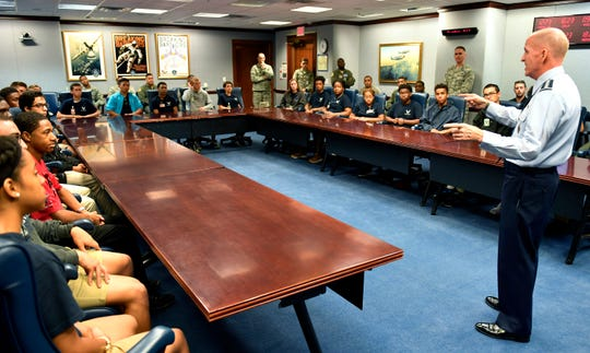 Air Force Vice Chief of Staff Gen. Stephen W. Wilson speaks with trainees from the Aviation Character Education Flight Program (ACE), Pentagon, Washington, D.C., August 1, 2018.  The ACE program is a unique mentorship and motivational program for high school students and Air Force cadets.