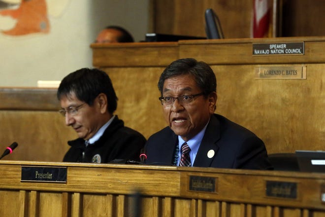 Navajo Nation Vice President Jonathan Nez and President Russell Begaye give the State of the Nation address on Monday, Oct. 15, 2015 at the Council Chambers in Window Rock, Ariz.