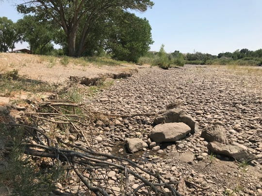 The banks of the Animas River are pictured on Monday, Aug. 13, 2918 at Riverside Park in Aztec.