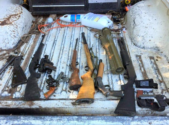 Some of the weapons recovered from the home in Hondo included a shoulder fire rocket launcher.