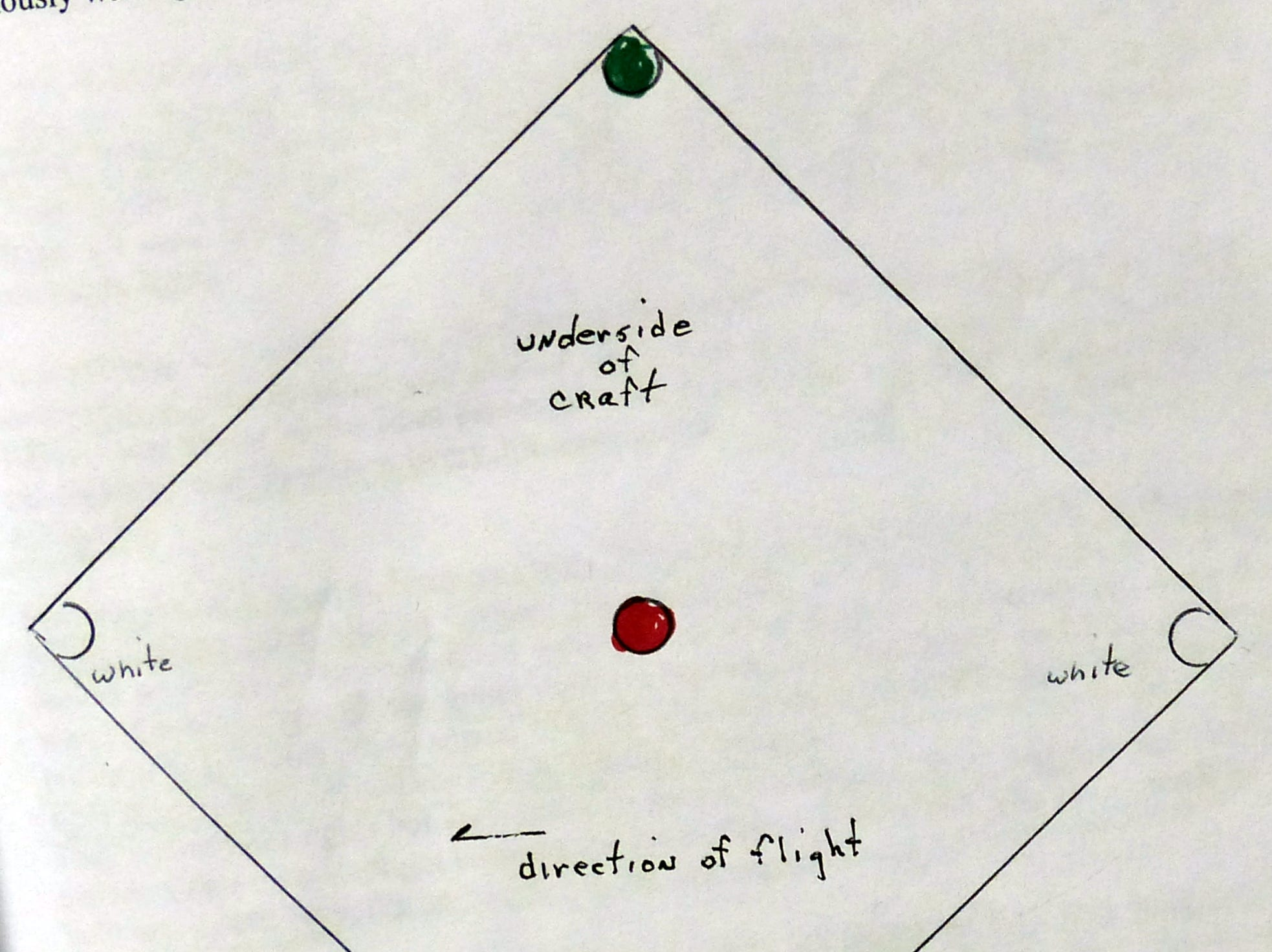 Bill Thorp sketched the positions of the lights on the underside of a craft that flew over his home in Nogal.