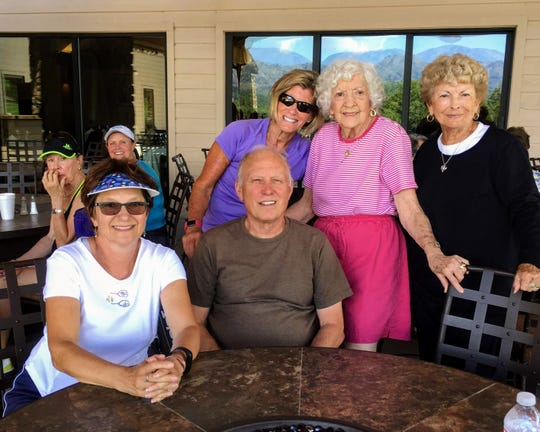 Special guest at the ALTA and ATA tennis mixer was Ora Marie Templeton of Ruidoso and Dallas, Texas, center in pink, pictured with seated ATA members Diane and Lee Gustafason. Standing from left are Linda Gilliland, Ora Marie, and Nell Nicholson. Templeton was instrumental in the development of women's tennis in Ruidoso in the 1980s and 1990s.