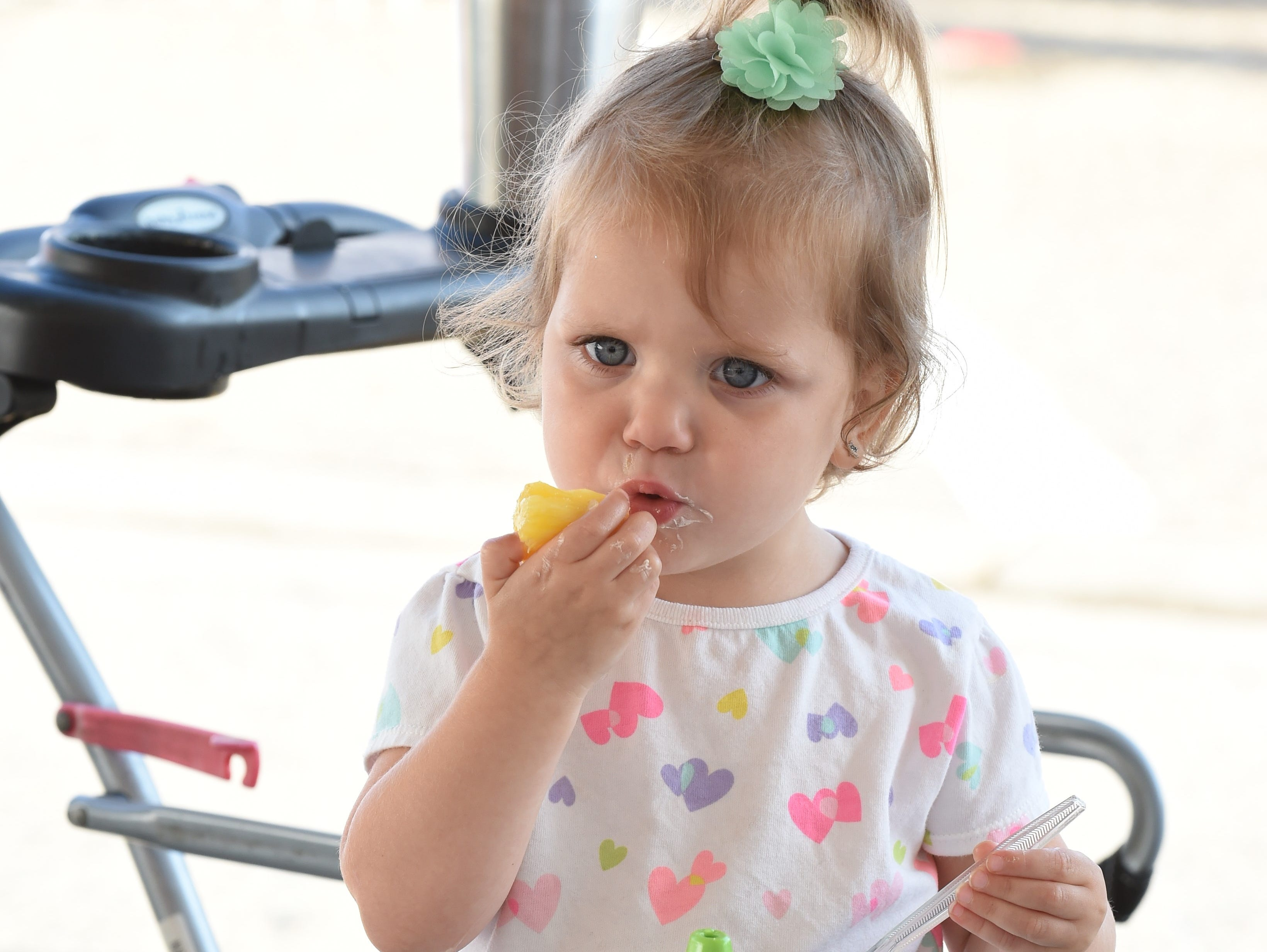 Two-year old Gabrielle Smith come to the pancake breakfast with an appetite.