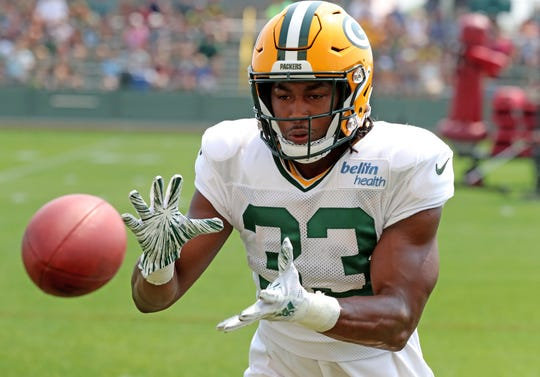 Green Bay Packers running back Aaron Jones (33) during Green Bay Packers Training camp Monday, August 13, 2018 at Ray Nitschke Field in Ashwaubenon, Wis.,