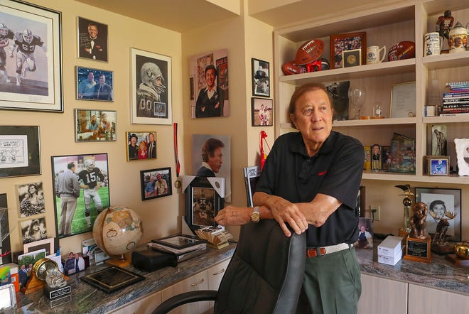 Former NFL head coach of the Oakland Raiders Tom Flores at his Indian Wells home, August 9, 2018.