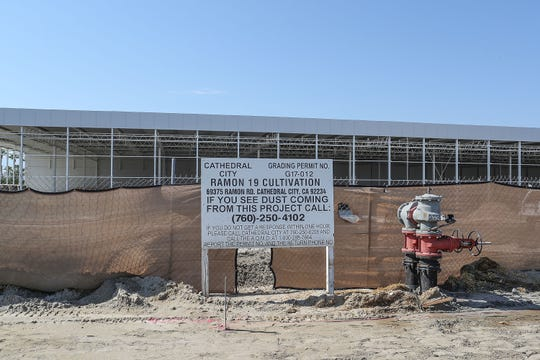 A massive warehouse has been constructed at 69375 Ramon Rd. in Cathedral City.  The project sign describes the property as Ramon 19 cultivation, August 13, 2018.