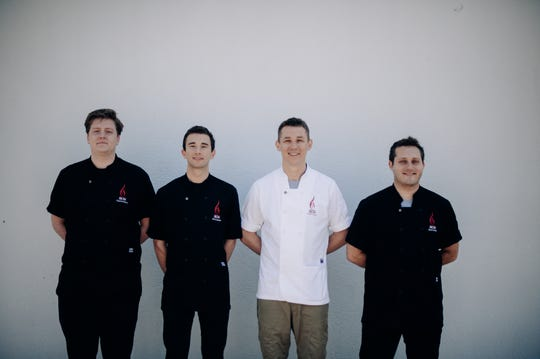 The culinary team at IRON in downtown Pensacola include, from left,  Sous Chef Clayton Estess, Sous Chef Alex Lamonte, Executive Chef Alex McPhail, and Sous Chef Noah Tomko.