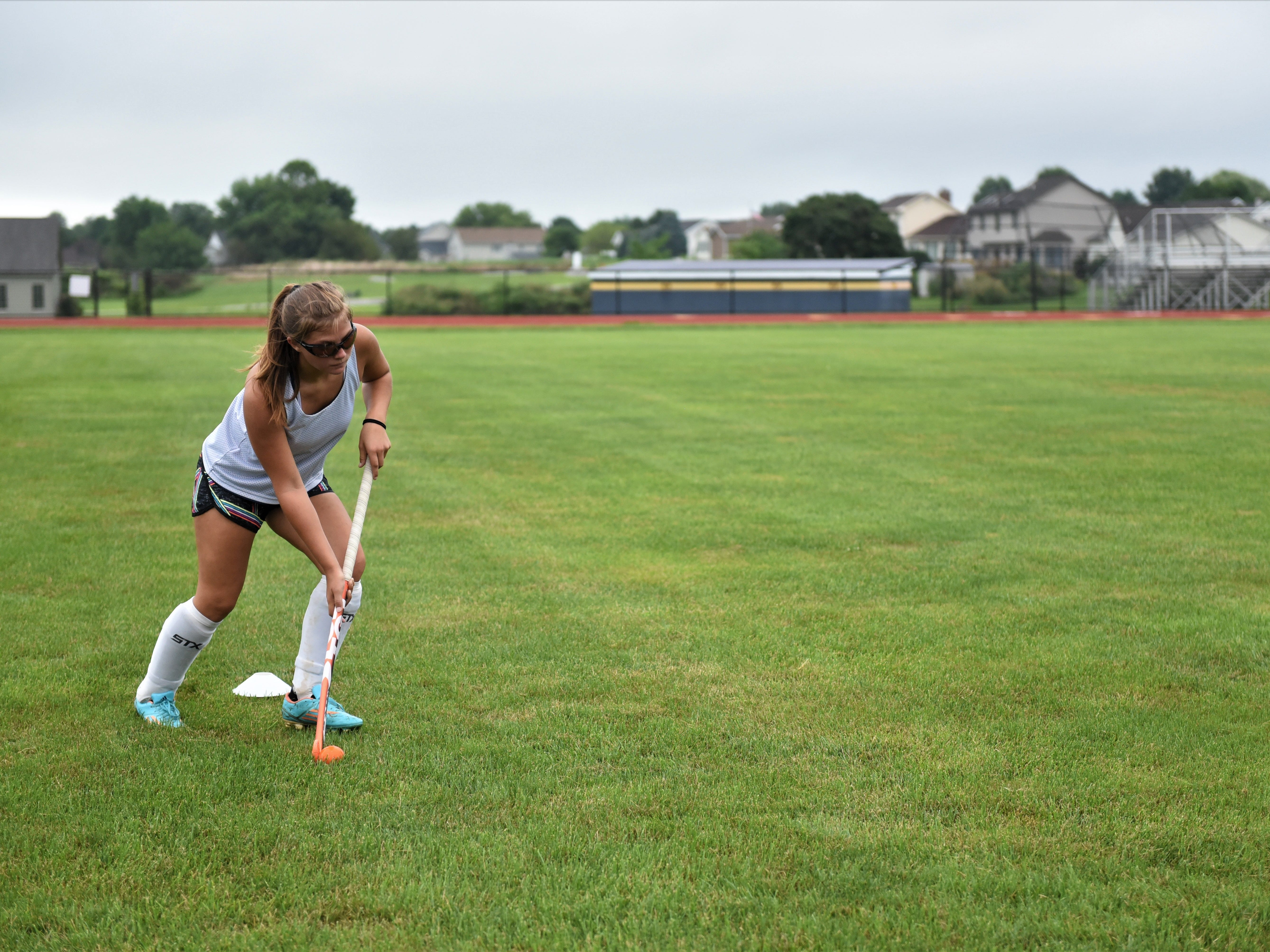 Littlestown field hockey senior, Olivia Hartlaub, practices on the first day of fall sports on Monday, Aug. 13, 2018.