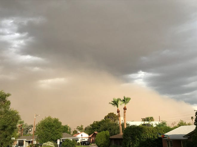 Storm and dust clouds in central Phoenix, Aug. 12, 2018.