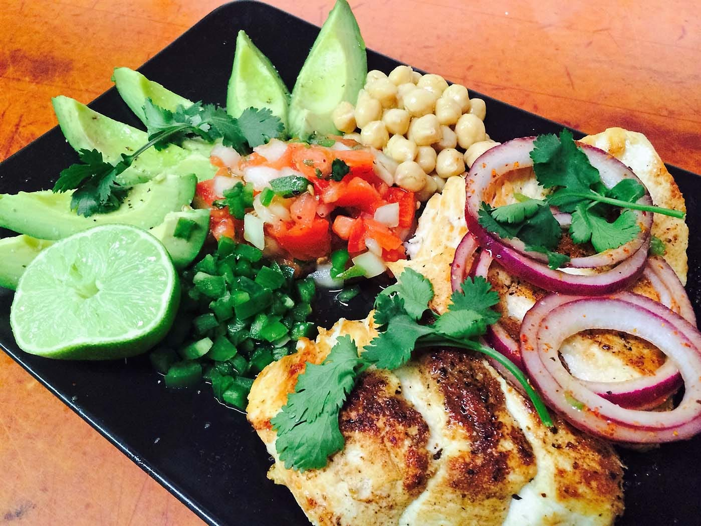 The South Beach Chicken  and Avocado salad, at only 400 calories, is a favorite at Creekside American Bistro.