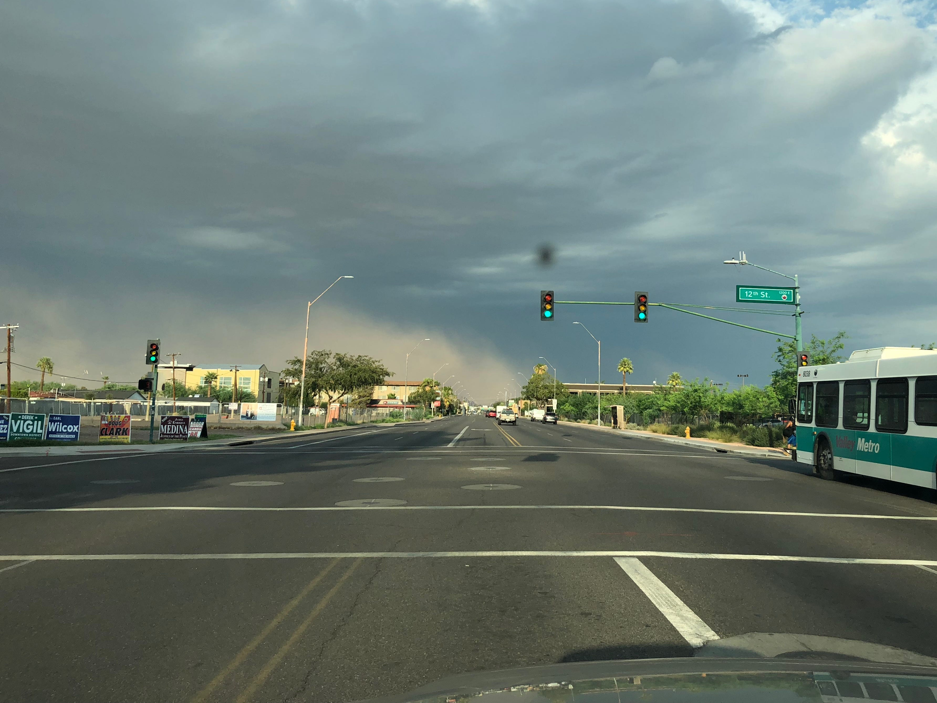 Storm clouds and dust on McDowell Road in central Phoenix, Aug. 12, 2018.