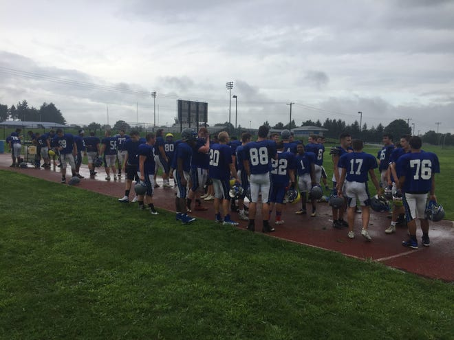 Under rainy conditions and gloomy skies, the Cedar Crest football team and the rest of their fellow fall sports team began fall practice on Monday morning.