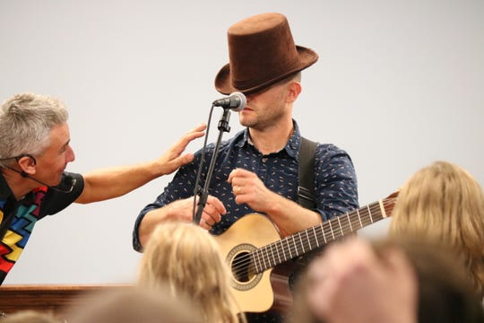Children's entertainers and longtime friends Zak Morgan and Duke Otherwise shared a stage at the Ida Rupp Public Library on Monday.