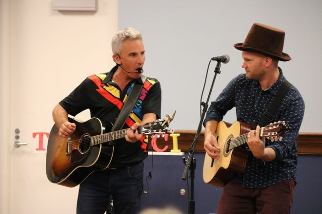 Duke Otherwise, shown here at right with Zak Morgan, will be back at the Ida Rupp Public LIbrary on Dec. 16.