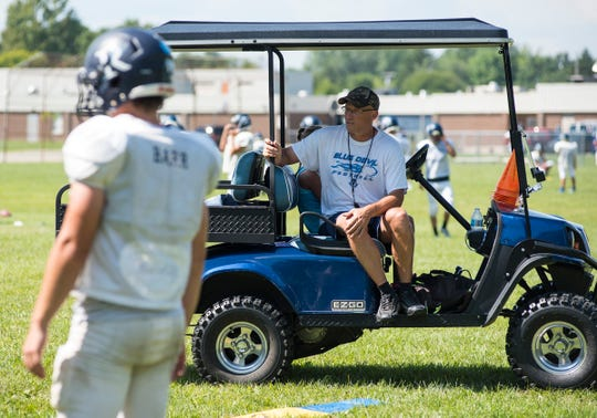Richmond coach John Kocher watches practice Monday, Aug. 13, 2018, at Richmond High School.